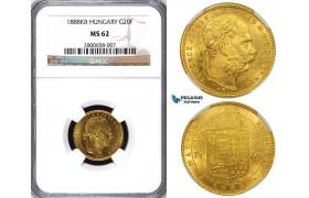 ZA76, Hungary, Franz Joseph, 8 Forint/20 Francs 1888-KB, Kremnitz, Gold, NGC MS62