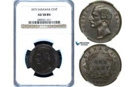 ZA87, Sarawak, C. Brooke Rajah, 1 Cent 1879, Heaton, NGC AU58BN