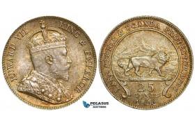 ZA96, East Africa & Uganda Protectorates, Edward VII, 25 Cents 1906, Silver, Toned UNC