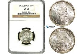 ZA97, Brazil, 500 Reis 1913-A, Paris, Silver, NGC MS64