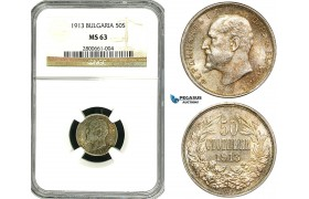 ZA99, Bulgaria, Ferdinand I, 50 Stotinki 1913, Silver, NGC MS63