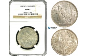 ZB01, Chile, 1 Peso 1910-SO, Santiago, Silver, NGC MS63