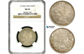ZB02, Chile, 1 Peso 1915-SO, Santiago, Silver, NGC MS65