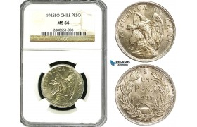 ZB03, Chile, 1 Peso 1925-SO, Santiago, Silver, NGC MS66 (Pop 1/0, Finest)