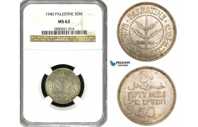 ZB11, Palestine, 50 Mils 1940, Silver, NGC MS62