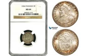 ZB12, Panama, 5 Centesimos 1904, Philadelphia, Silver, NGC MS64