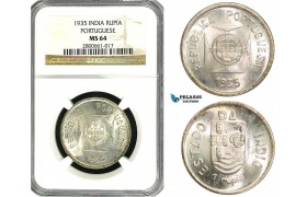 ZB14, India (Portuguese) 1 Rupia 1935, Silver, NGC MS64