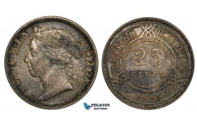 ZB19, British Honduras (Belize) Victoria, 25 Cents 1895, Silver, Dark toned VF-XF