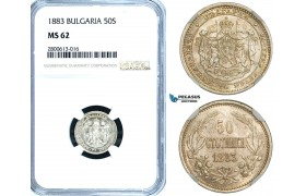 ZB23, Bulgaria, Alexander I, 50 Stotinki 1883, St. Petersburg, Silver, NGC MS62