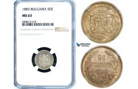 ZB24, Bulgaria, Alexander I, 50 Stotinki 1883, St. Petersburg, Silver, NGC MS63