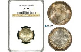ZB27X, Bulgaria, Ferdinand I, 1 Lev 1913, Silver, NGC MS63