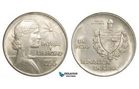 """ZB34, Cuba, """"ABC"""" Peso 1938, Silver, AU"""