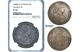 ZB50, Mexico, Charles IV, 8 Reales 1808 Mo TH, Mexico City, Silver, NGC VF30