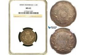 ZB51, Mombasa, Half Rupee 1890-H, Heaton, Silver, NGC MS63