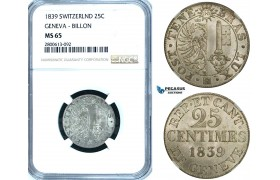 ZB58, Switzerland, Geneva, 25 Centimes 1839, NGC MS65