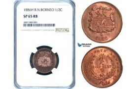 ZB62, British North Borneo, 1/2 Cent 1886-H, Heaton, NGC SP65RB