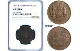 ZB63, British North Borneo, 1 Cent 1886-H, Heaton, NGC AU55BN