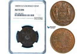 ZB64, British North Borneo, 1 Cent 1889-H, Heaton, NGC AU55BN