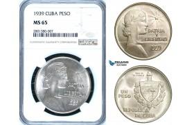 """ZB68, Cuba, """"ABC"""" Peso 1939, Philadelphia, Silver, NGC MS65, Rare so nice!"""