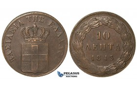 ZB70, Greece, Othon, 10 Lepta 1843, Athens, XF-AU (Bold struck) Chocolate Brown toning!