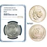 ZB72, Hungary, Franz Joseph, 5 Korona 1907-KB, Kremnitz, Silver, Restrike without