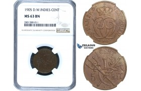 ZB73, Danish West Indies, Christian IX, 1 Cent (5 Bit) 1905, Copenhagen, NGC MS63BN