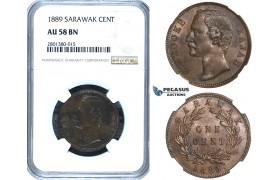 ZB77, Sarawak, C. Brooke Rajah, 1 Cent 1889, Heaton, NGC AU58BN, Pop 2