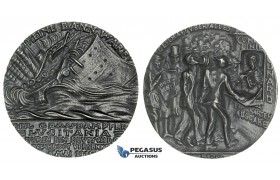 ZB80, Germany, Medal by Karl Göetz, 1915, Tin? Later Cast Medal (92.80g) The Sinking of the S. S. Lusitania, UNC