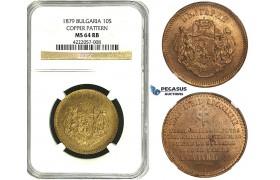 ZB81, Bulgaria, Ferdinand I, Copper Pattern 10 Santim 1879-AB, Paris, NGC MS64RB