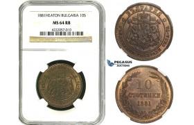 ZB82, Bulgaria, Ferdinand I, 10 Stotinki 1881-Heaton, NGC MS64RB