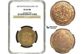 ZB83, Bulgaria, Ferdinand I, 10 Stotinki 1881-Heaton, NGC SP65RB, Pop 1/0, Finest! Rare!