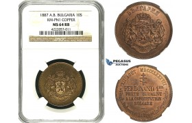ZB84, Bulgaria, Ferdinand I, Copper Pattern 10 Santim 1887-AB, Paris, NGC MS64RB