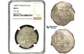 ZB86, Bolivia, Colonial, Cob 4 Reales 1686-P/VR, Potosi, Silver (14.1g) NGC MS61, Rare grade!