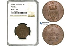ZB95, Germany, Prussia, 4 Pfenninge 1846-A, Berlin, NGC MS63BN