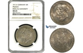 ZB97, Germany, Prussia, Wilhelm II, 3 Mark 1911-A, Berlin, Silver, NGC MS65 (Breslau University)