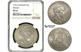 ZB98, Germany, Prussia, Wilhelm II, 5 Mark 1907-A, Berlin, Silver, NGC MS63