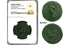 ZC10, Roman Empire, Divus Augustus (d. 14 AD) Æ Dupondius (14.51g) Rome, 37-41 AD (Struck under Caligula) NGC XF