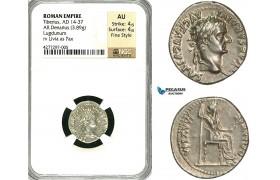 "ZC14, Roman Empire, Tiberius (14-37 AD) AR Denarius ""Tribute Penny"" (3.89g) Lugdunum (Lyon), 18-35 AD, Pax, NGC AU, Fine Style"