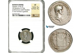 ZC20, Roman Empire, Antonia, mother of Claudius, AR Denarius (3.77g) struck under Claudius, Rome, 41-45 AD, NGC VF
