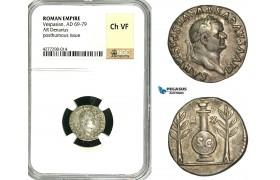 ZC25, Roman Empire, Divus Vespasian  (69-79 AD), AR Denarius (3.43g)  Rome, 80-81 AD (Struck under Titus) Urn, NGC Ch VF