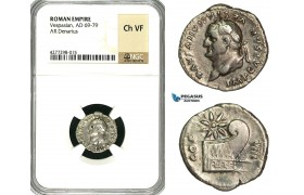 ZC26, Roman Empire, Vespasian (69-79 AD), AR Denarius (3.05g) Rome, 77-80 AD, Prow, NGC Ch VF