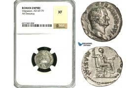 ZC31, Roman Empire, Vespasian (69-79 AD), AR Denarius (3.33g) Rome, 73 AD, NGC XF