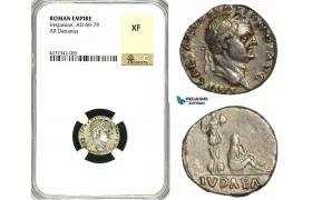 "ZC32, Roman Empire, Vespasian (69-79 AD), AR Denarius (3.01g) Rome, 69-70 AD, ""Judaea capta"" NGC XF"