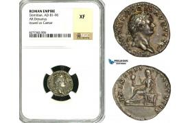 ZC35, Roman Empire, Domitian (81-96 AD), AR Denarius (3.46g) Rome, 79 AD, Vesta, NGC XF