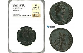 ZC40, Roman Empire, Domitian (81-96 AD) Æ As (12.57g) Rome, 90-91 AD, Moneta, NGC AU