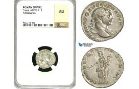 ZC43, Roman Empire, Trajan (98-117 AD), AR Denarius (3.45g) Rome, 108-109 AD, Felicitas, NGC AU
