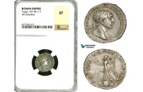 ZC44, Roman Empire, Trajan (98-117 AD), AR Denarius (3.51g) Rome, 103-111 AD, Victory, NGC XF