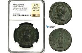 ZC45, Roman Empire, Trajan (98-117 AD) Æ Sestertius (27.26g) Rome, 107 AD, Fortuna, NGC Ch XF, Fine Style