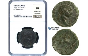 ZC46, Roman Empire, Trajan (98-117 AD) Æ Dupondius, Rome, 105-107 AD. Dacian, NGC AU, Fine Style