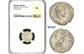 ZC49, Roman Empire, Hadrian (117-138 AD), AR Denarius (3.60g) Rome, 119-122 AD, NGC AU